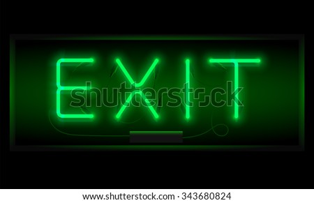 Exit sign. Realistic neon inscription. Glowing font. Vector illustration.