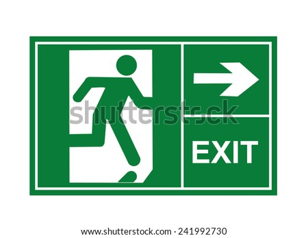 exit sign vector, exit signs, sign vector, exit vector - stock vector