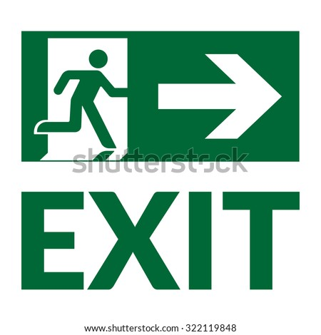 Exit sign with text. Emergency fire exit door and exit door. Green icon on white background. Safe condition symbol. Label with human figure and arrow. Vector illustration - stock vector