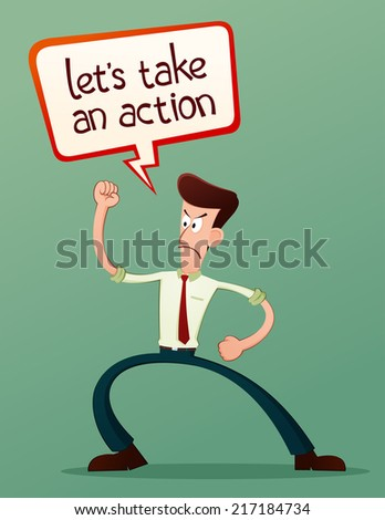 exited young businessman - stock vector