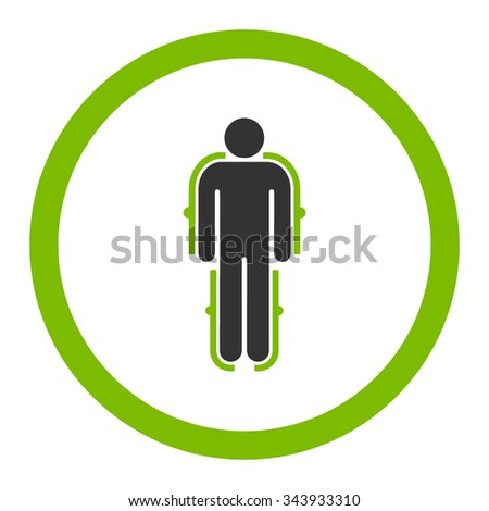 Exoskeleton vector icon. Style is bicolor flat rounded symbol, eco green and gray colors, rounded angles, white background.