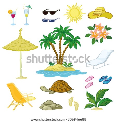 Exotic and Beach Objects Set, Sun, Palm Trees on the Island, Flowers, Leaves, Glasses, Hat, Umbrella, Beach Chair, Turtle, Slippers, Stones, Footprints in the Sand Isolated on White Background. Vector - stock vector