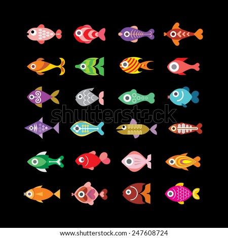 Exotic aquarium fishes - set of color vector icons. Isolated on black background. - stock vector