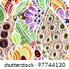 Exotic background in vintage style, hand-painted - stock photo