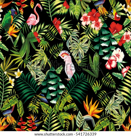 Exotic Beach Trendy Seamless Pattern Patchwork Illustrated Floral Vector Tropical Banana Leaves Hibiscus Flower