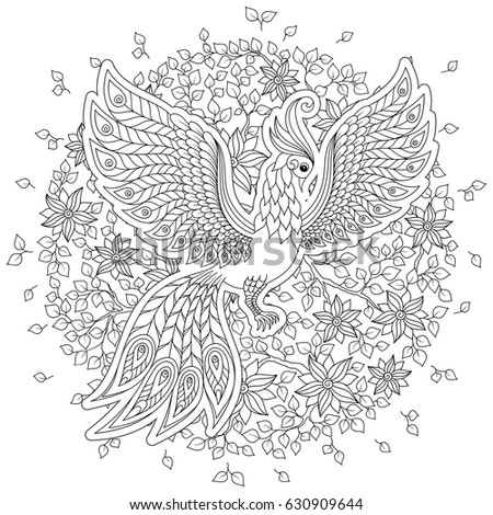 Exotic Birdfantastic Flowers Leaves Firebird For Anti Stress Coloring Page With High