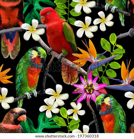 exotic birds and beautiful flowers - stock vector