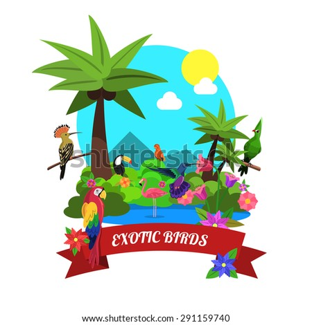 Exotic birds concept with tropical island nature flat vector illustration