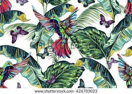 Exotic birds, hummingbird, palm, banana leaves, jungle leaf, butterflies, tropical seamless vector summer pattern background