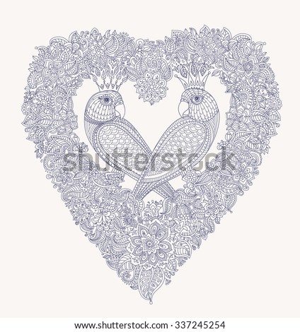 Exotic birds with fantastic flowers. Black and white contour thin line drawing. Vector fantasy floral heart shaped frame with love couple parrot silhouette. T-shirt print. Coloring book vertical page - stock vector