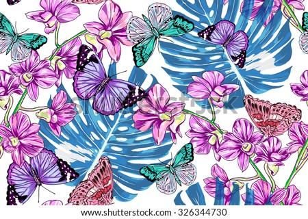Exotic butterflies, tropical flowers, jungle leaves, orchid. Beautiful seamless vector floral botanical pattern background - stock vector
