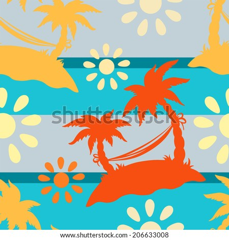 Exotic caribbean seamless pattern with silhouettes tropical coconut palm trees, sun, hammock. Summer, sea, island. Endless print repeating texture. Striped background. Wallpaper - vector - stock vector