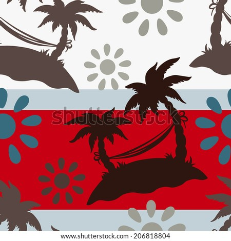 Exotic Caribbean seamless pattern with silhouettes tropical coconut palm trees, sun, hammock. Summer, island. Endless print repeating texture. Striped background. Wallpaper - vector - stock vector