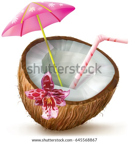 Exotic coconut cocktail with orchid flower. vector illustration