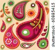 Exotic colorful paisley  wallpaper pattern - stock vector