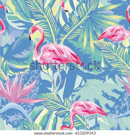 Exotic Composition Of Tropical Birds Pink Flamingo Jungle Beach Seamless Pattern Wallpaper Blue Leaves And