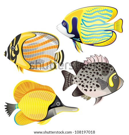 Exotic fish set isolated on white background. EPS 10 vector illustration. - stock vector