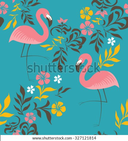 EXOTIC FLAMINGO PATTER, BACKGROUND DESIGN. Modern stylish texture. Repeating and editable vector illustration file. Can be used for prints, textiles, websites blogs etc.  - stock vector