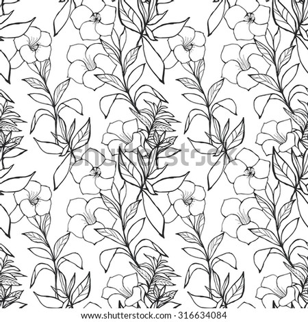 Exotic Floral Seamless Pattern. Black And White Outline Hand Drawn Flowers And Leaves.