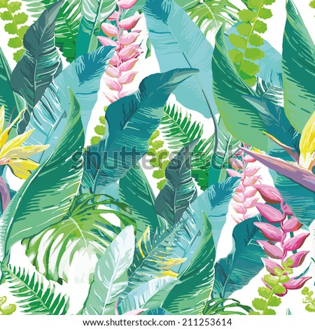 exotic flowers and leaves - stock vector