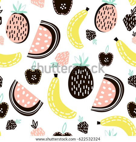 Exotic fruit seamless pattern. Great for kids fabric, textile, Vector Illustration