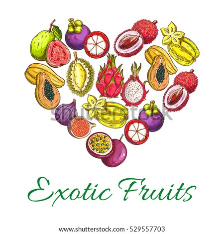 Exotic fruits heart shape of orange, papaya, durian, guava, carambola, dragon fruit, lychee, feijoa, passion fruit maracuya, longan, figs, rambutan, mangosteen. Vector tropical juicy tropical fruits