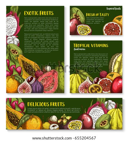 Exotic fruits vector posters and banners. Tropical carambola and passionfruit, guava or avocado and figs, mango or papaya and orange grapefruit harvest of juicy dragon fruit, feijoa and mangosteen