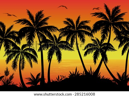 Exotic Horizontal Seamless Landscape, Palm Trees, Plants, Ocean and Birds Gulls Black Silhouettes. Eps10, Contains Transparencies. Vector