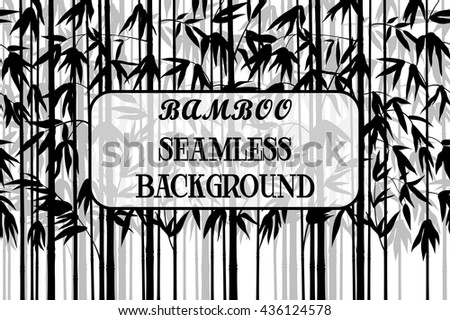 Exotic Horizontal Seamless Pattern, Tropical Bamboo Plants Trunks, Stems, Branches and Leaves Black and Grey Silhouettes on White Background. Vector