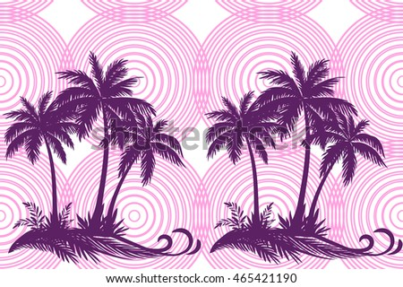 Exotic Horizontal Seamless Pattern, Tropical Landscape, Palms Trees and Grass Silhouettes on Background with Pink Rings. Vector
