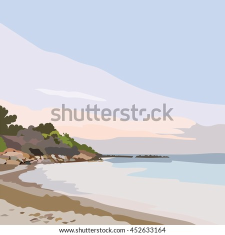 Exotic Island Paradise Beach at Sunset or Sunrise. Summer Beach Tropics. Vector background card in pastel rose quartz and serenity colors - stock vector