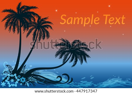 Exotic Landscape, Tropical Palms Trees, Flowers and Grass Silhouettes Against the Night Sea and Star Sky. Eps10, Contains Transparencies. Vector