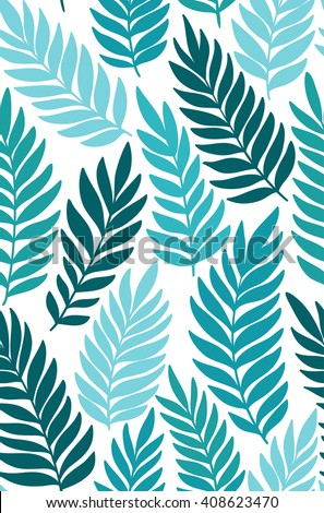 Exotic leaves, rainforest. Seamless, hand drawn pattern. Vector background. - stock vector