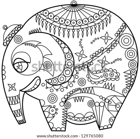 exotic ornated elephant outline - stock vector