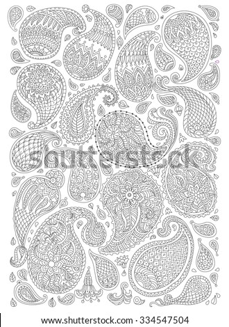 Exotic Paisley decorative elements with fantastic flowers, branches, leaves. Black and white contour thin line. Vector floral fantasy silhouette. T-shirt print. Coloring book  vertical page - stock vector