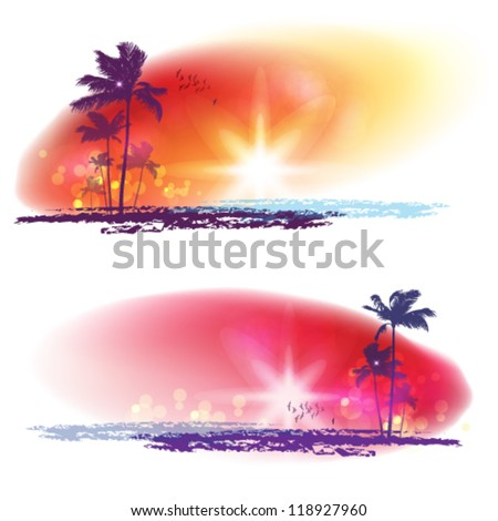 Exotic Palm Trees Background Banners - stock vector