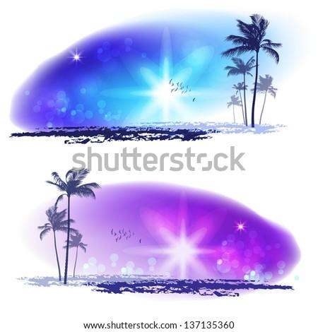 Exotic Palm Trees. Seashore Sunset - stock vector