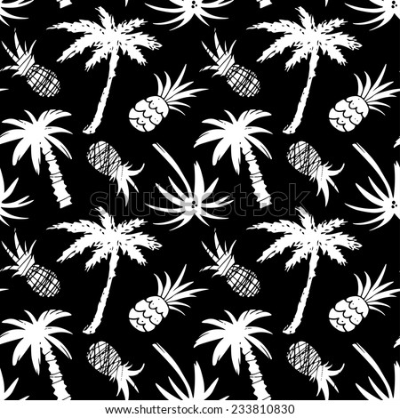 Exotic seamless pattern with silhouettes coconut palm trees and pineapples in black and white. Abstract tropical hand drawn background texture. Cloth art design - stock vector