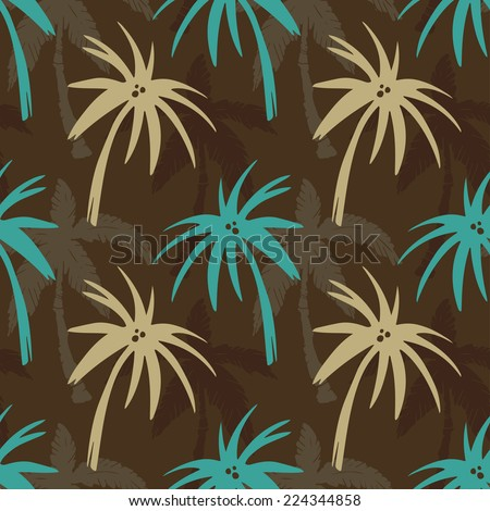 Exotic seamless pattern with silhouettes tropical coconut palm trees. Forest, jungle. Abstract nature hand drawn background texture. Cloth art design - stock vector