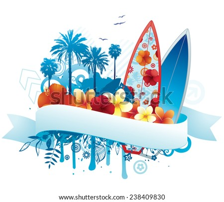Exotic summer design with copy space. - stock vector