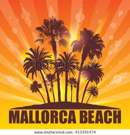 Exotic Travel Background with Palm Trees for Mallorca, Spain. - stock vector
