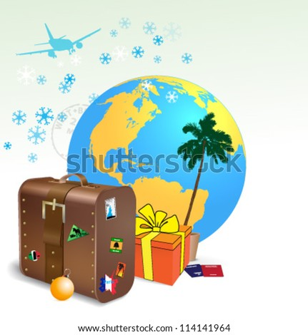 Exotic trip for Christmas and New year - stock vector