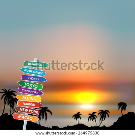 Exotic trip with palms trees and sunset sky  - stock vector