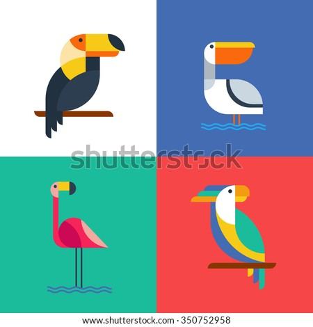 Exotic tropical birds flat style logo icons. Set of vector colorful birds illustration of toucan, cockatoo parrot, flamingo and pelican. Isolated design elements and backgrounds.  - stock vector