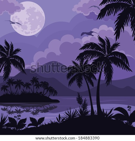 Exotic tropical night landscape with moonlit sky, sea islands with palm trees and flowers silhouettes. Element of this image furnished by NASA Vector - stock vector