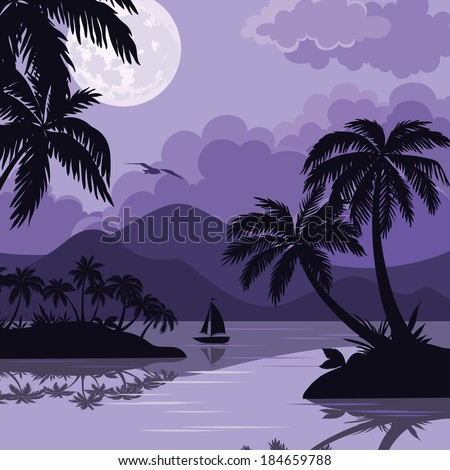 Exotic tropical night landscape with moonlit sky, sea islands with palm trees and sailboat silhouettes. Element of this image furnished by NASA (www.visibleearth.nasa.gov). Vector - stock vector