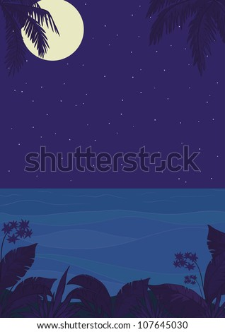 Exotic tropical ocean landscape with moon night sky, palm trees leaves and flowers. Vector - stock vector