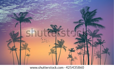 Exotic tropical palm trees  at sunset or moonlight, with cloudy sky.  Highly detailed  and editable