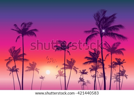Exotic tropical palm trees at sunset or sunrise. Highly detailed and editable