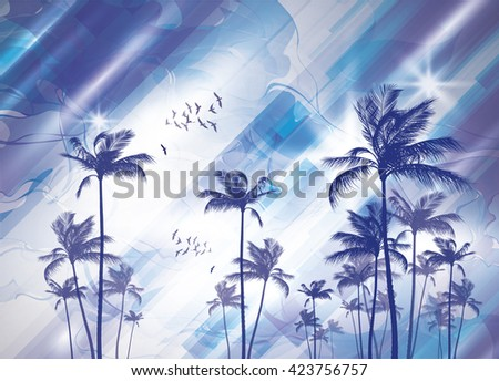 Exotic tropical palm trees at sunset or sunrise, with cloudy sky. Highly detailed and editable